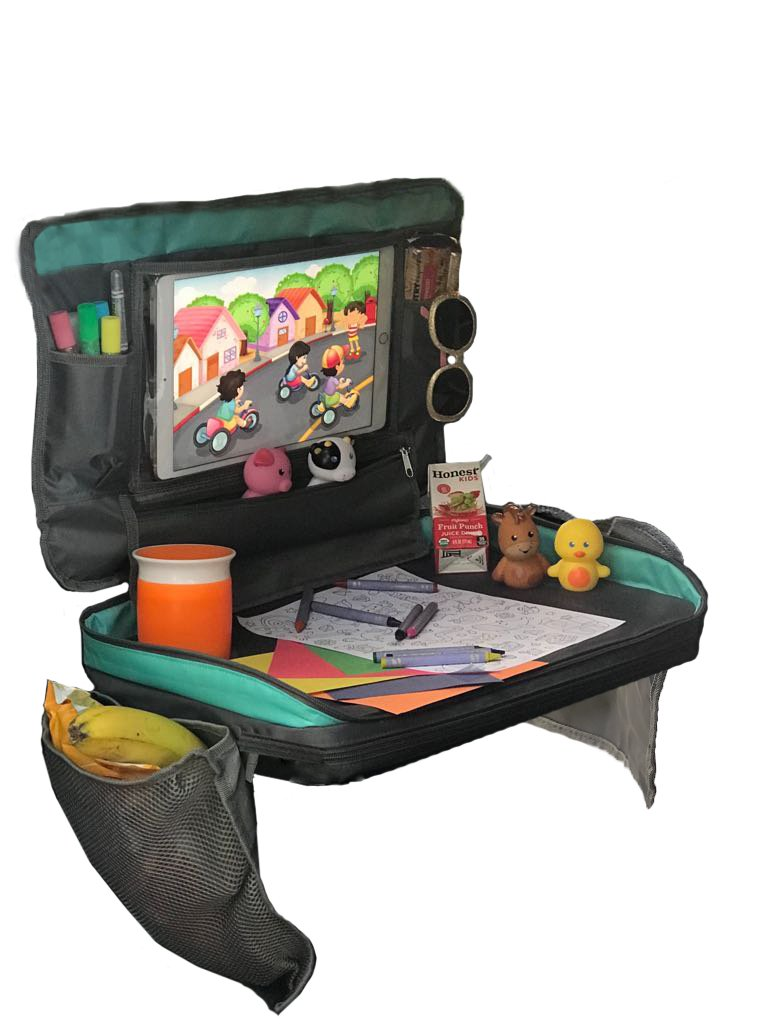 Kids Car Seat Travel Tray: Child Detachable Snack and Play Carseat Lap Trays, Toddler Activities Table, Childrens Desk for Plane.