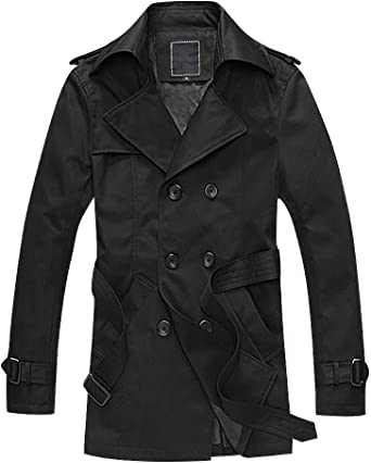 ONTBYB Mens Casual Trench Coat Wool Blend Jacket Business Top Coat