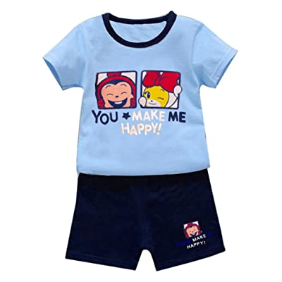 bb7a4f85e DIGOOD for 0-4 Years Old,Toddler Baby Boys Letter Print Cartoon  T-Shirt+Short Pants,Kids 2Pcs Cute Outfits Clothes Sets