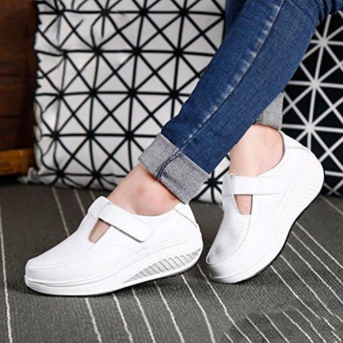JITIAN Low Haut Respirant Baskets Plate-Forme pour Les Femmes de Mode Confortable Chaussures de Marche athlétique Blanc wy13b8