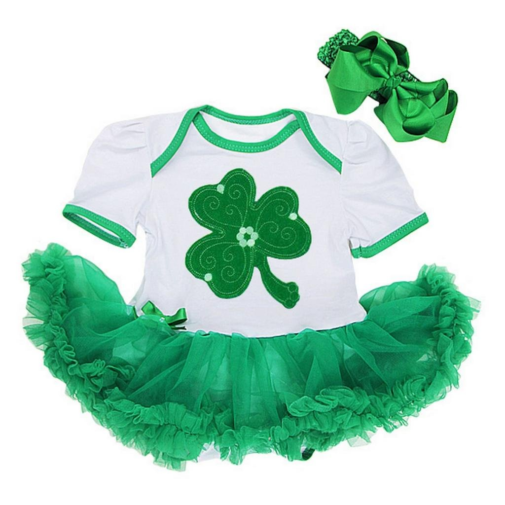 amazon com baby green shamrock st patricks day bodysuit tutu