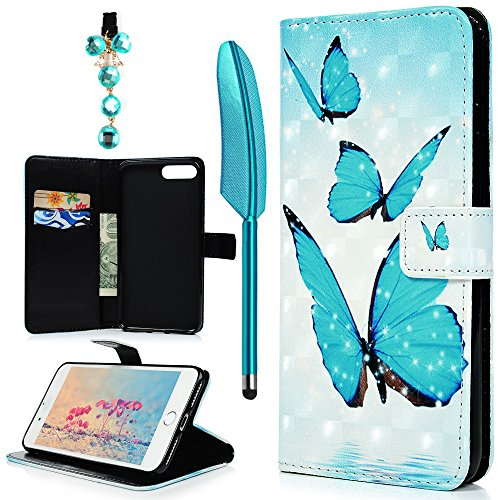 iPhone 7 Plus Case, iPhone 8 Plus Case, Colorful Painting PU Leather Magnetic Flip Wallet Case Emboss Printed TPU Inner Card ID Pockets Stand Cover for iPhone7/8 Plus, Blue Butterfly
