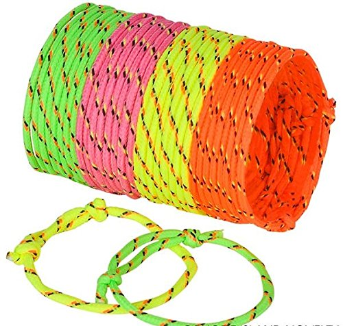 Best Friends Forever! Neon Rope Woven Friendship Bracelets Adjustable, 144 Bracelets in 4 Assorted Neon Colors Bulk Toys For Goody Bag Stuffers, Party Favors, Or Just Because For A Little Diva! -