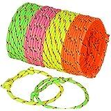 Neliblu Neon Rope Woven Friendship Bracelets Adjustable, 144 Bracelets in 4 Assorted Colors