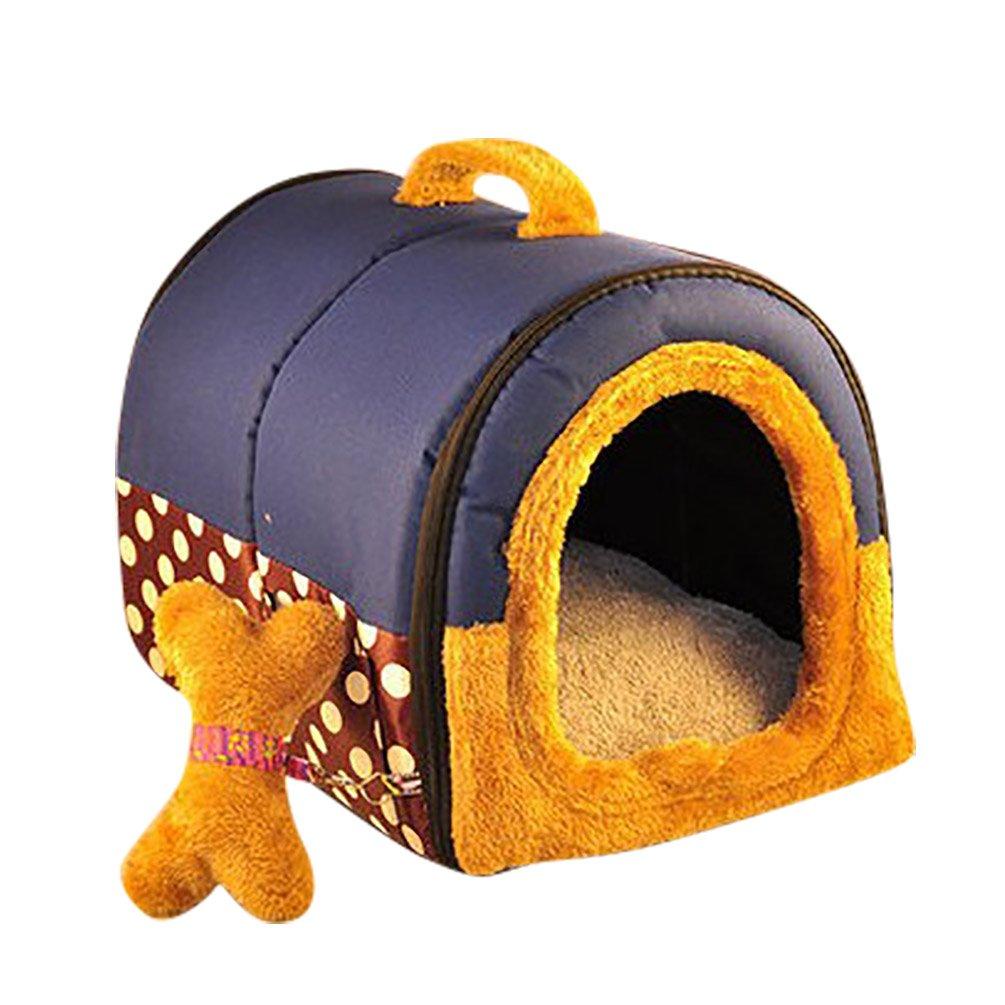YOUJIA Cama felpa para perros y gatos - Casa para Mascotas Cama Cojin Casa de la Perrera Perrito (Azúl Puntos,S): Amazon.es: Hogar