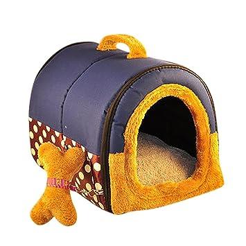 YOUJIA Cama felpa para perros y gatos - Casa para Mascotas Cama Cojin Casa de la Perrera Perrito (Azúl Puntos,L): Amazon.es: Hogar
