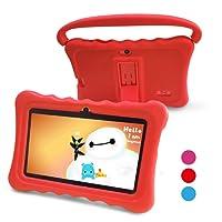 Tablet para Niños Pad para Niños - 7 pulgadas Tablet para niños con sistema operativo Google Android 6.0 y Caso de Silicon,aplicaciones iWavaHome y AR Zoo ya instaladas,Pantalla IPS,ROM de 8 (rojo)
