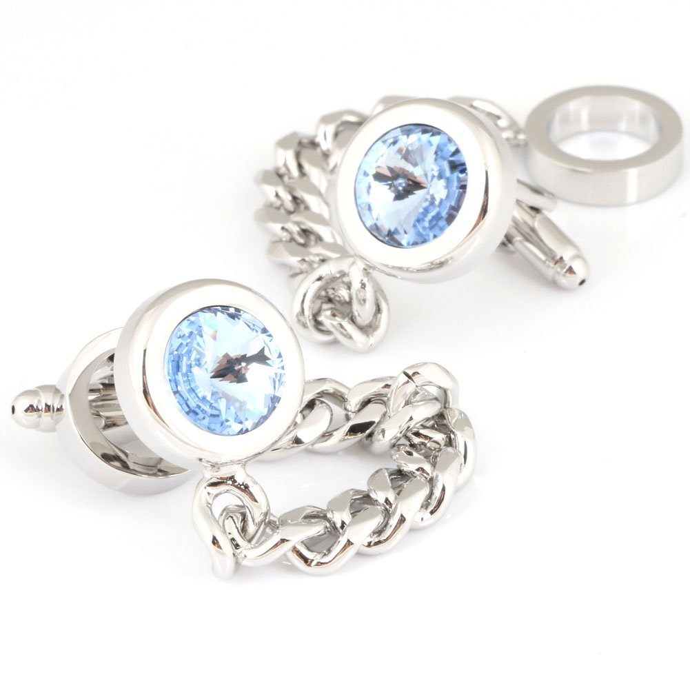 Men's 2PCS Rhodium Plated Cufflinks Silver Shirt Wedding Business 1 Pair Silver Chain & Blue Crystal With (Silver)