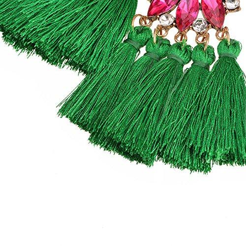 Dangle Stud Earring Long Tassel Tiered Thread Bohemia for Women Girls Statement Crystal Gift Box Green