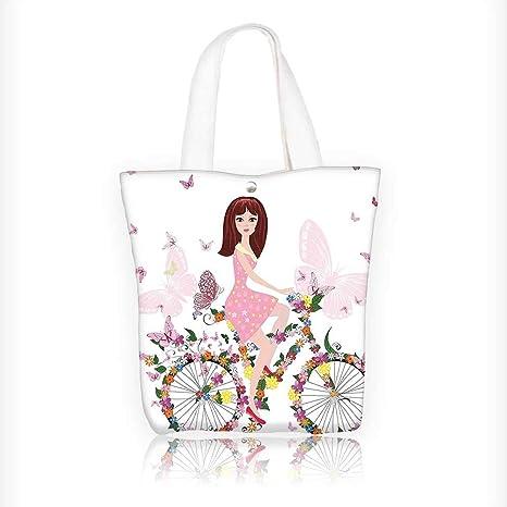 68d72c5d69ca Amazon.com: Canvas Tote Handbag Floral Decor Flower Girl on the ...