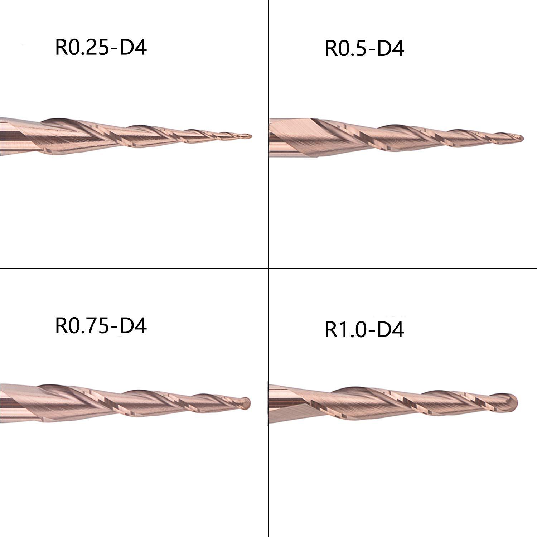 Spetool Juego de Molino de Extremo C/ónico de 4 piezas Radio de Bola 0,25//0,5//0,75//1,0 mm V/ástago 4 mm 2 Flauta Fresas de Extremo de Carburo CNC para Metal Tallado en Madera Recubrimiento H-Si