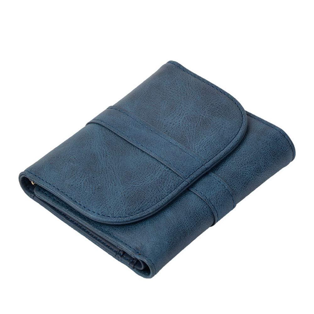 bluee Women's Leather Wallet Short Buckle Wallet MultiCard MultiFunction Wallet (color   Pink)