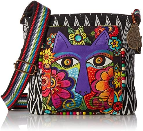Laurel Burch Crossbody Bag, 13.5 through 4 through 10-Inch, Blossoming Feline