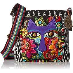 Laurel Burch Crossbody Bag, 13.5 by 4 by 10-Inch, Blossoming Feline