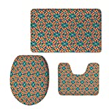 iPrint Fashion 3D Baseball Printed,Arabian,Islamic Mosaic Floral Patterns with Geometrical Shapes Old Ethnic Oriental Motifs,Multicolor,U-Shaped Toilet Mat+Area Rug+Toilet Lid Covers 3PCS/Set