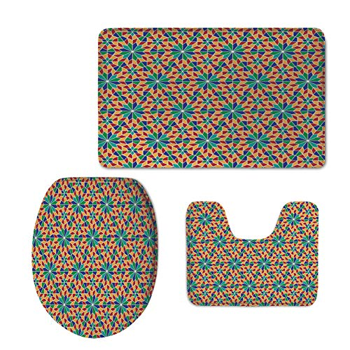 iPrint Fashion 3D Baseball Printed,Arabian,Islamic Mosaic Floral Patterns with Geometrical Shapes Old Ethnic Oriental Motifs,Multicolor,U-Shaped Toilet Mat+Area Rug+Toilet Lid Covers 3PCS/Set by iPrint