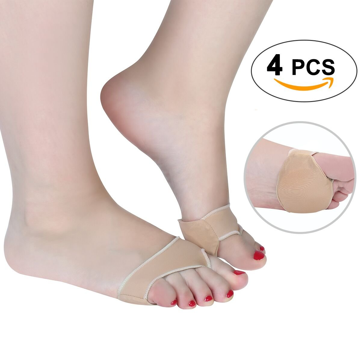 Gel Forefoot Cushions Stretchable Metatarsal Foot Pads Anti Slip Metatarsal Pads for Shoes Pain Relief Mortons Neuroma Relief Forefoot Cushions for Women for Man Large Size Small- 4 Pieces