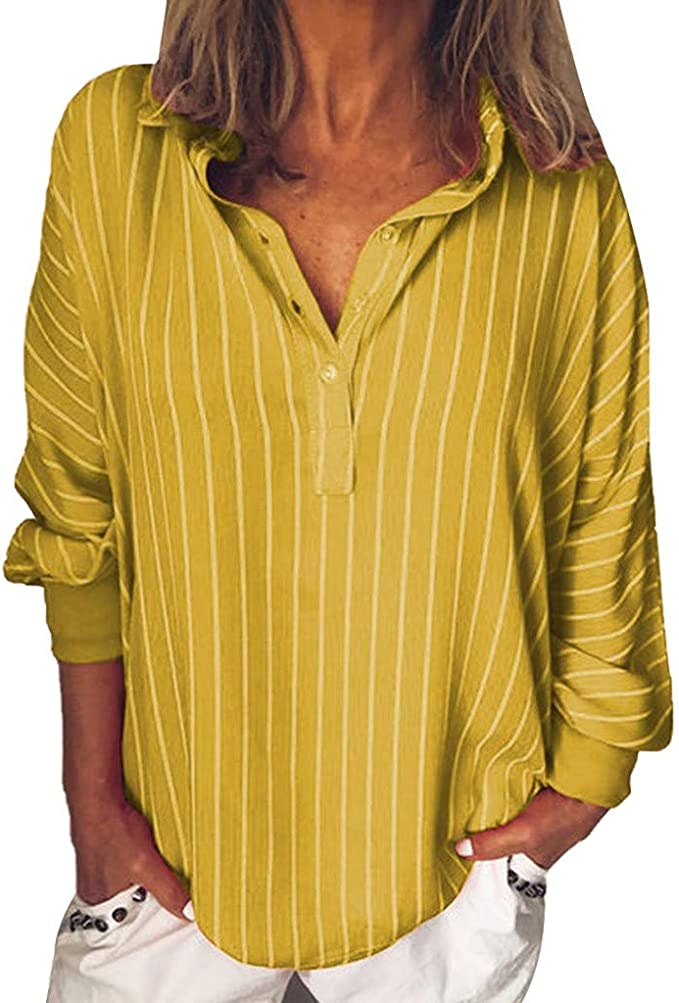Gusspower Mujer Blusa de Manga Largas Estampado de Rayas Camisa ...