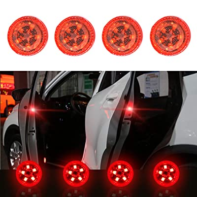 Maodaner 4 PCS Universal Wireless Car Door LED Warning Light, Strobe Flashing Anti Collision Signal LED Safety Lamps (Red): Automotive