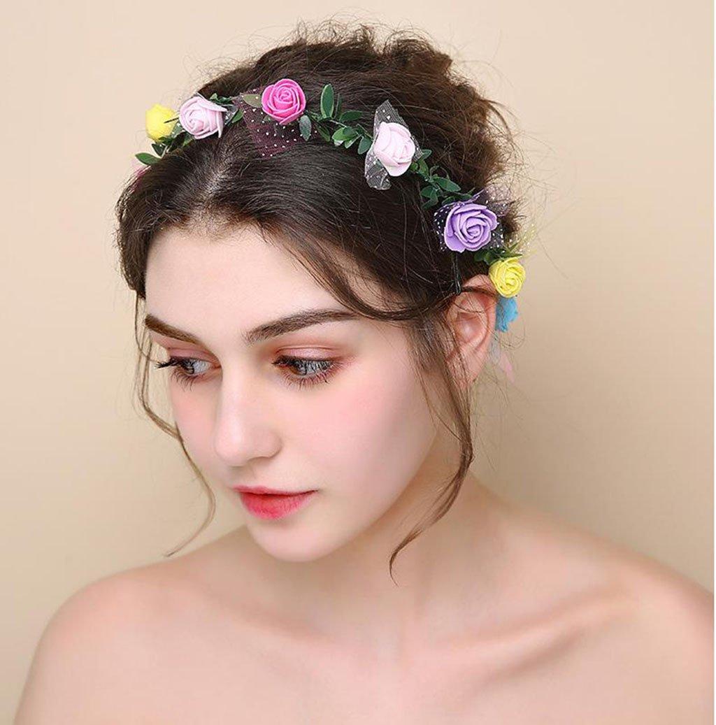 Wreath Flower, Headband Flower Garland Handmade Wedding Bride Party Ribbon Headband Wristband Hairband (Color : G)