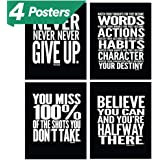"""Motivational Quote Workout Gym Posters - 8"""" x 10"""" - Set of 4 - Classroom Office Wall Art Decals - Inspirational Teen Boy Girl Fitness Success Sports Goal Hard Work Decor - Adhesive Black Finish"""