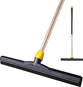 Yocada Floor Squeegee Scrubber 54in Long Adjustable Telescopic Pole Heavy Duty Household Broom Perfect for Garage Courtyard Shower Bathroom Pet Hair Fur Floor Marble Glass Tile Water Foam Cleaning