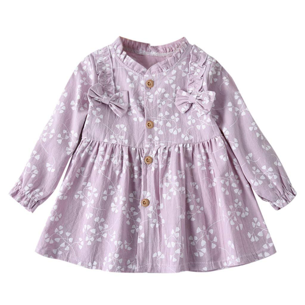 Tutu Dress for Girls,Toddler Baby Girls Long Sleeve Solid Ruched Floral Flower Bow Dressed Clothes,Pet Supplies,Purple,18-24M