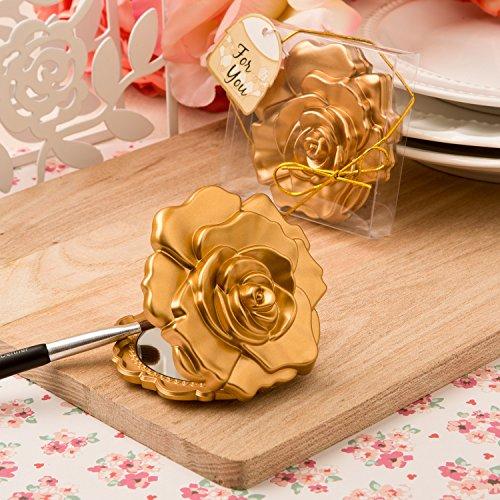 Fashioncraft Ornate Matte Gold Rose Design Compact Mirror