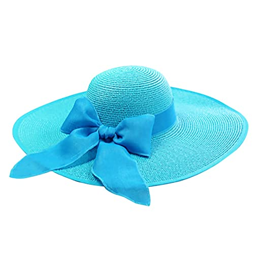 b27c1cb0544 Women Wide Brim Straw Sun Hat Floppy Foldable Summer Beach Hat with Bowknot  at Amazon Women s Clothing store