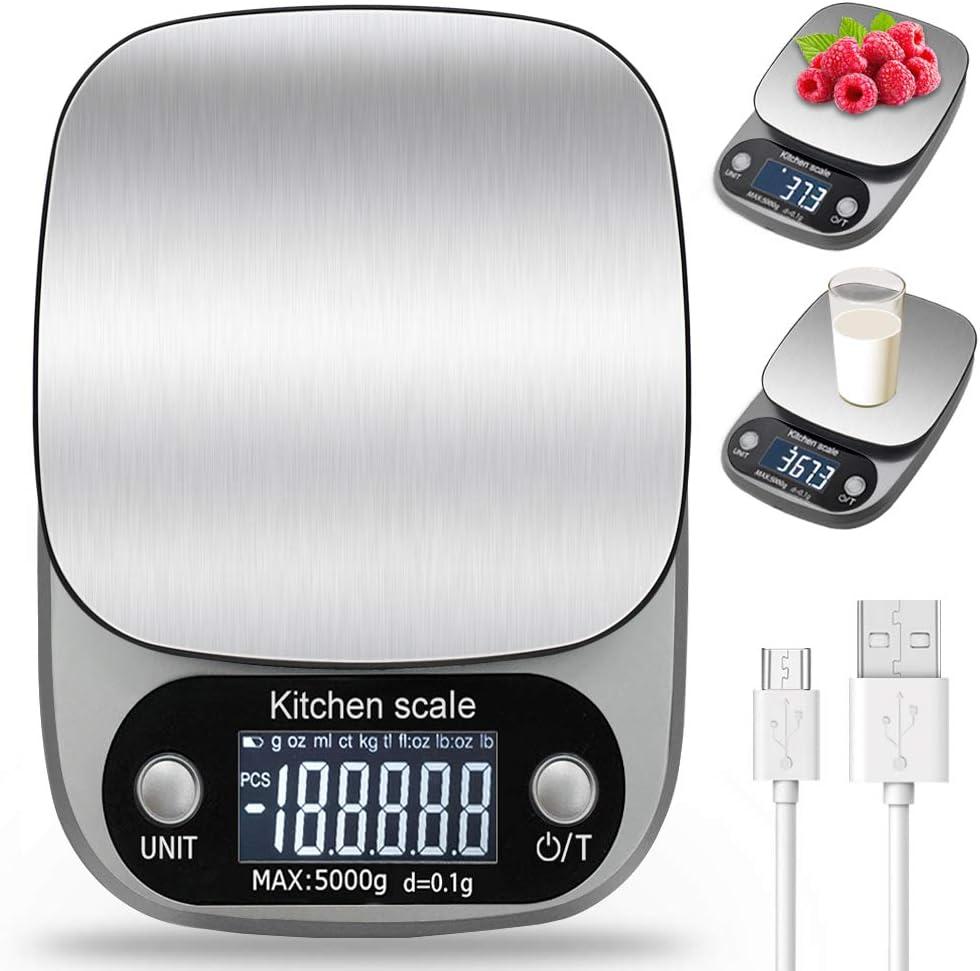 LENDOO Báscula Smart Digital para Cocina con Carga USB,5kg/11lbs-0.1g Balanza Electrónica de Alta Alimentos Precisión con LCD Retroiluminación, Peso de Cocina de Multifuncional, Gris