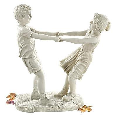 Design Toscano Little Girl and Boy Dancing Garden Statue, Large, Antique Stone : Outdoor Statues : Garden & Outdoor