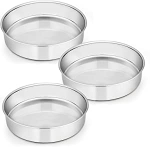 8 Inch Cake Pan Set of 3, E-far Stainless Steel Round Layer Cake Baking Pans, Non-Toxic & Healthy, Mirror Finish & Dishwasher Safe
