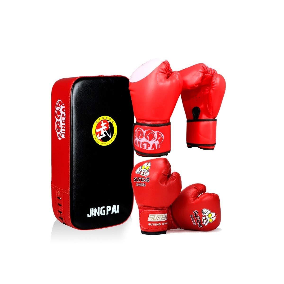 RLYBDL 子供の手袋セットボーイズ親子コンビネーション大人女子ジュニア三田ボクシンググローブフットターゲットバッフルキッカーターゲットレッドブルー、 (Color : 赤) 赤