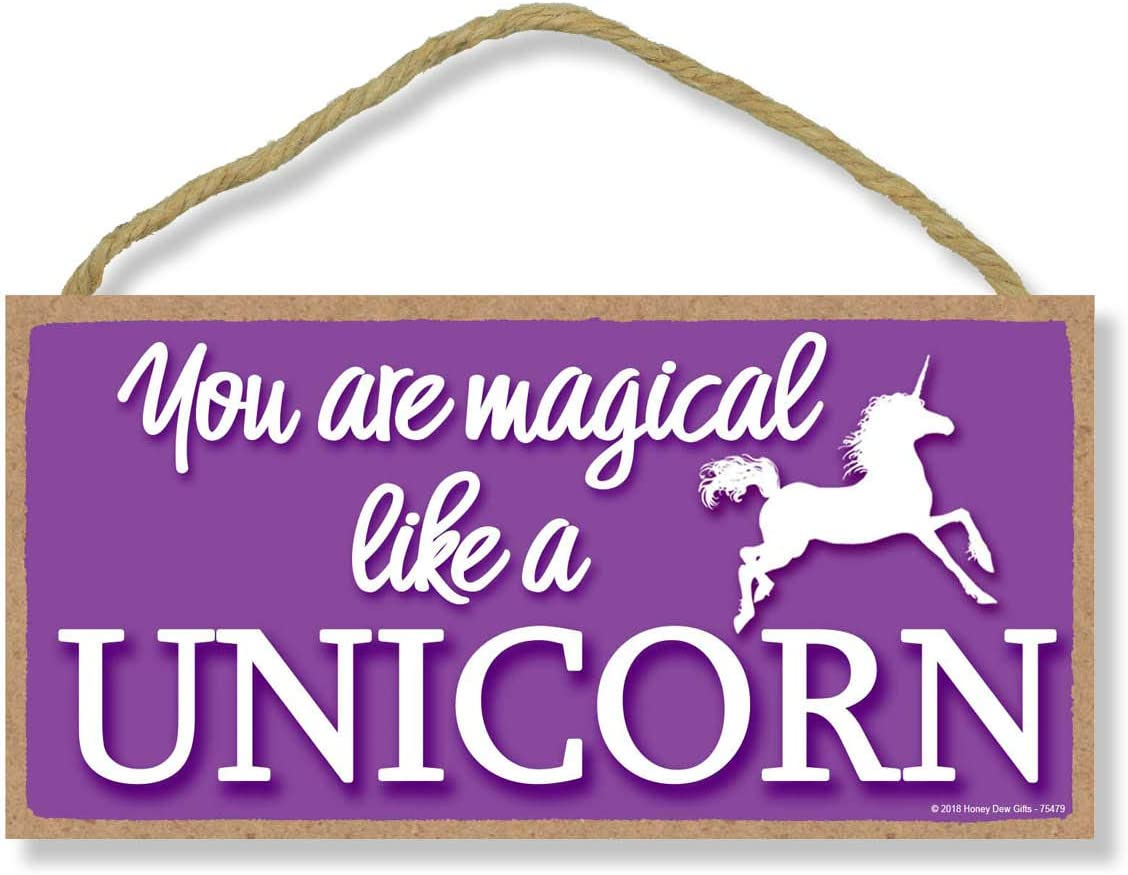 Honey Dew Gifts You are Magical Like A Unicorn Purple 5 inch by 10 inch Hanging Unicorn Decor, Wall Art, Decorative Wood Sign Home Decor