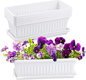 YINGERHUAN Plastic Window Box Planter 15 Inch, 6 Packs Countryside Flower Box Planter with Attached Tray for Windowsill Garden Balcony(White)