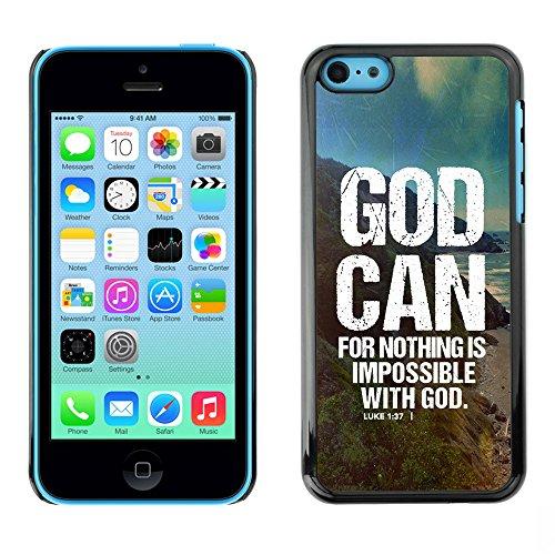 DREAMCASE Citation de Bible Coque de Protection Image Rigide Etui solide Housse T¨¦l¨¦phone Case Pour APPLE IPHONE 5C - GOD CAN - LUKE 1:37