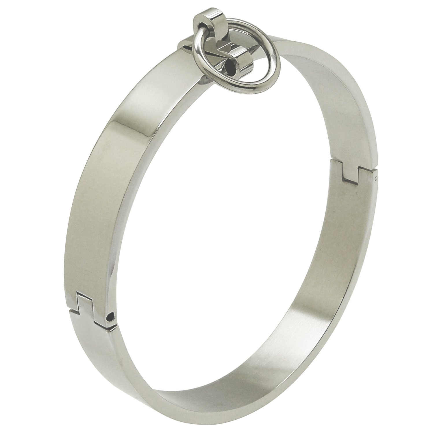 Stainless Steel Slave Collar Choker Necklace with Removable Ring (135 mm, Silver)