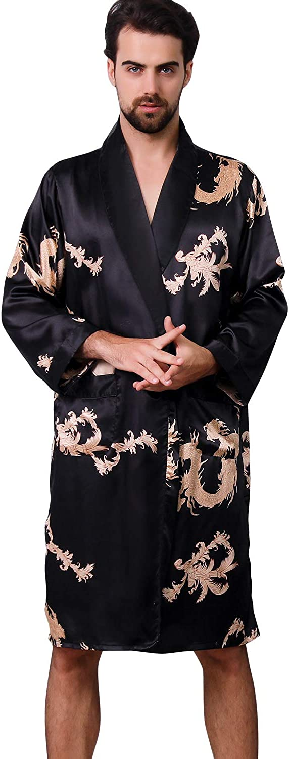 Haseil Men's Satin Robe Dragon Luxurious Silk Spa Long Sleeve House Kimono Bathrobe