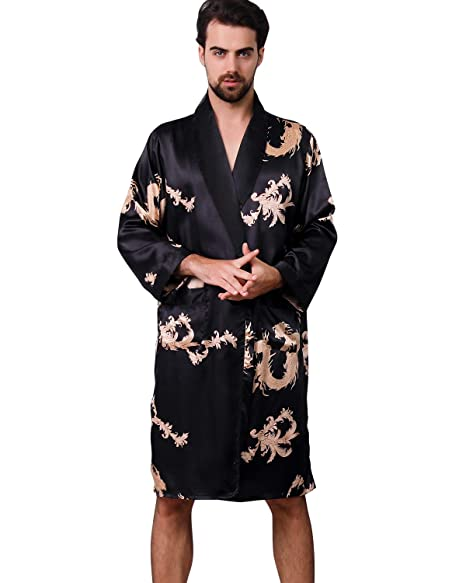 2019 professional special for shoe popular style Haseil Men's Satin Robe Dragon Luxurious Silk Spa Long ...