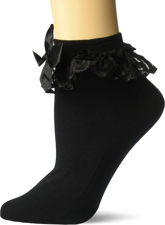 Ladies Black Ruffled Ankle Socks with Black Bows