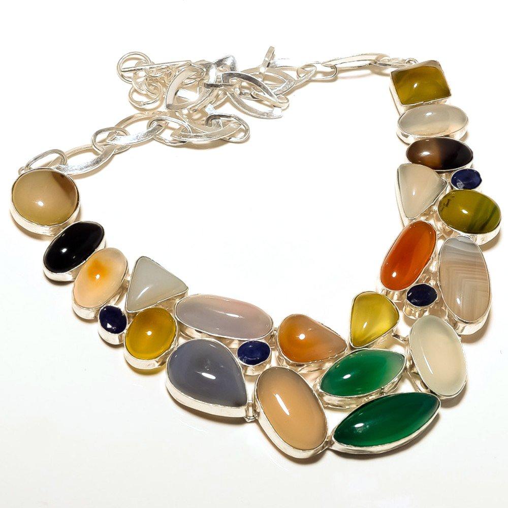 Carnelian Handmade Jewelry Chalcedony Sterling Silver Overlay 93 Grams Neckalce 18 Best Gift