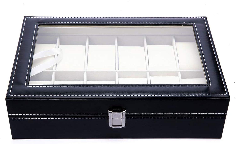 Caja para Guardar 12 Relojes de Hombre y Mujer. Estuche Organizador de Joyas y Pulseras. Joyero Expositor para almacenaje de Relojes y Gemelos. Diseño Elegante