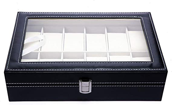 Caja para Guardar 12 Relojes de Hombre y Mujer. Estuche Organizador de Joyas y Pulseras. Joyero Expositor para almacenaje de Relojes y Gemelos. Diseño Elegante: Amazon.es: Relojes