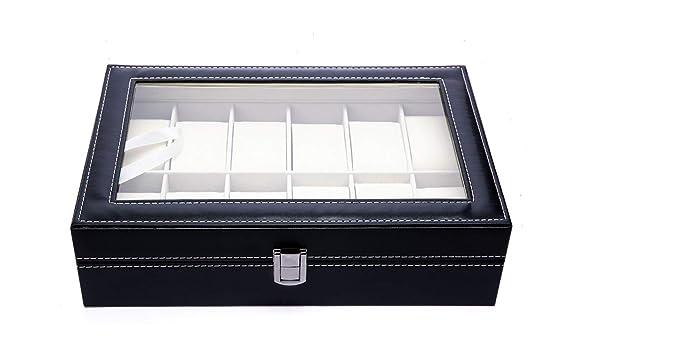 Caja para Guardar 12 Relojes de Hombre y Mujer. Estuche Organizador de Joyas y Pulseras. Joyero Expositor para almacenaje de Relojes y Gemelos. Diseño ...