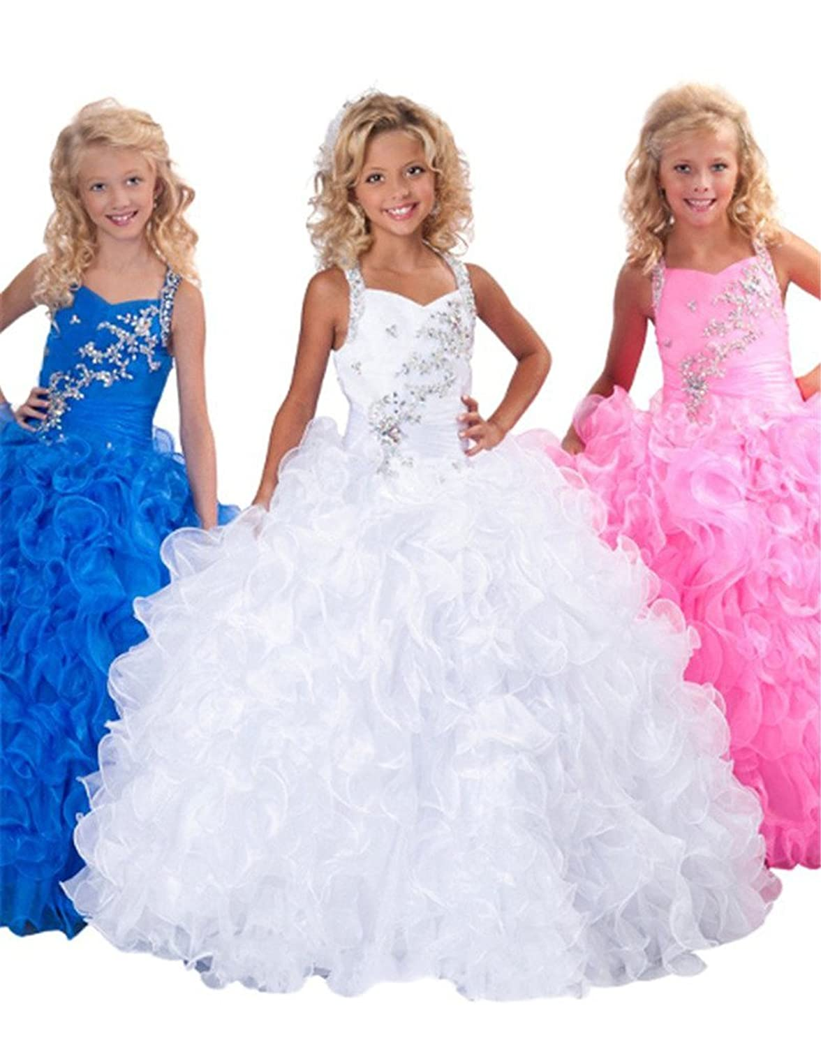 Amazon.com: Pinkmerry Ball Gown Halter Beads Flower Girls Pageant ...