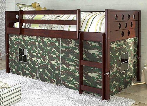 Donco Kids Twin Circles Low Camo Tent Loft Bed 721795