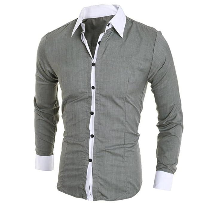 Camisa de Hombre Moda Personalidad Manga Larga Ajustado Clásico Básica Botón Formal Casual Camiseta para Hombre Tops para Hombre Blusa para Hombre LMMVP: ...