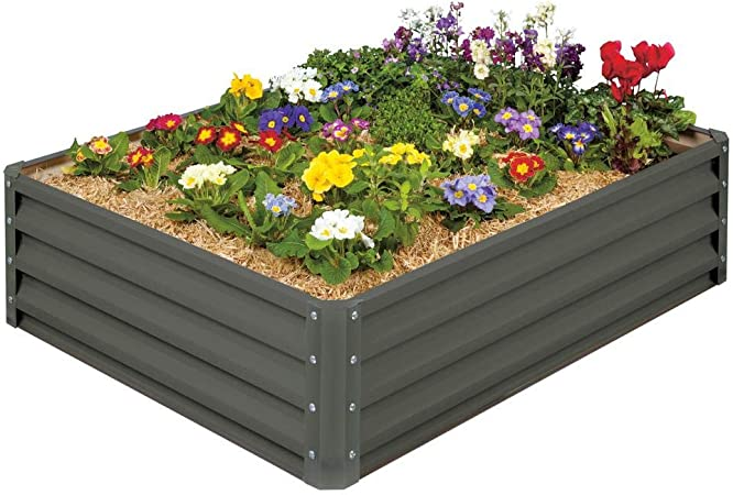 Stratco Metal Raised Garden Bed Kit - Elevated Planter Box For Growing on back yard planter box designs, raised garden fencing designs, raised garden trellis designs,