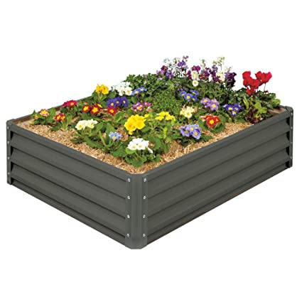 Stratco Metal Raised Garden Bed Kit - Elevated Planter Box For Growing on