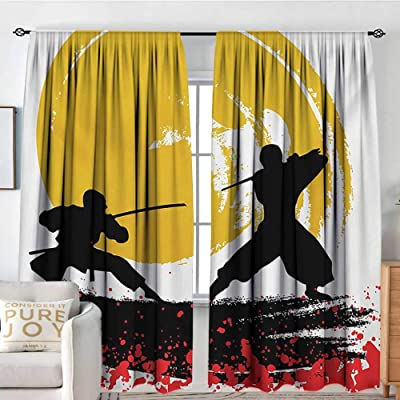 "Petpany Bedroom Blackout Curtain Panels Japanese,Watercolor Style Silhouette Ninjas in The Moonlight Medieval,Vermilion Mustard and Black,All Season Thermal Insulated Solid Room Drapes 54""x72"": Home & Kitchen"